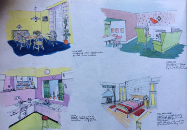 Sketch of room interiors