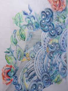 Drawings of Han Chinese Jacket from the Embroiderers' Guild handling collection