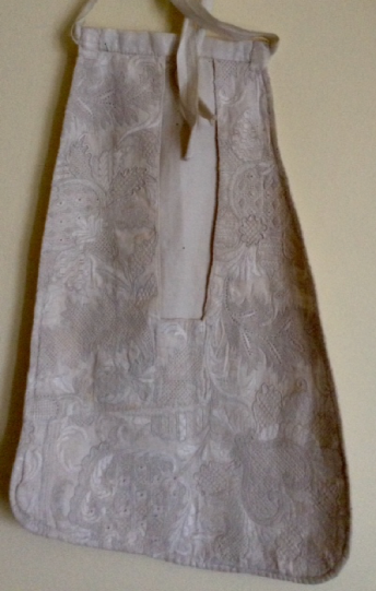 Historical white work embroidery on the pocket given by Mary to Rose Campbell