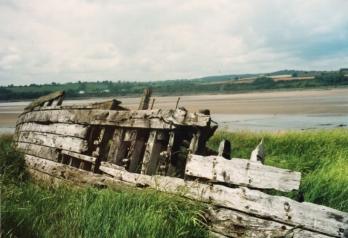 The 'Purton Hulks' on the banks of the river Severn. Just two of a number of photographs taken by Mary in 2010 as new starting points for work.